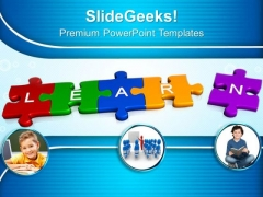 3d Jigsaw Puzzle Pieces With Learn PowerPoint Templates And PowerPoint Themes 1012