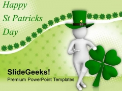 3d Man And Leaf Clover St Patricks Day PowerPoint Templates Ppt Backgrounds For Slides 0313