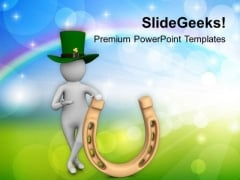 3d Man And Lucky Horseshoe PowerPoint Templates Ppt Backgrounds For Slides 0313