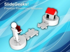 3d Man And Puzzle With Real Estate PowerPoint Templates And PowerPoint Themes 1012