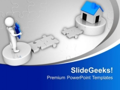 3d Man And Puzzle With Realestate PowerPoint Templates Ppt Backgrounds For Slides 0213