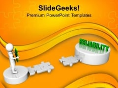 3d Man And Puzzle With Reliability Business PowerPoint Templates And PowerPoint Themes 1112