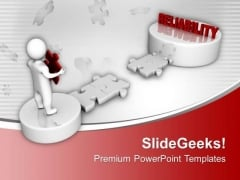 3d Man And Puzzle With Reliability PowerPoint Templates Ppt Backgrounds For Slides 0213