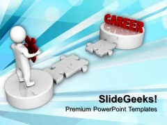 3d Man And Puzzle With Word Career Future PowerPoint Templates And PowerPoint Themes 1012
