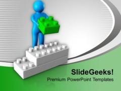 3d Man Arranges Lego Blocks Business PowerPoint Templates Ppt Backgrounds For Slides 0213