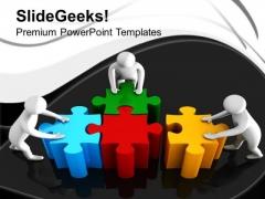 3d Man Assembling Jigsaw Puzzles Teamwork PowerPoint Templates Ppt Backgrounds For Slides 1112