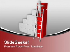 3d Man Climbing To Arrange Cubes PowerPoint Templates Ppt Backgrounds For Slides 0213