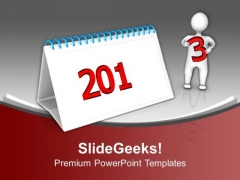 3d Man Completing Calender Of Year 2013 PowerPoint Templates Ppt Backgrounds For Slides 1212