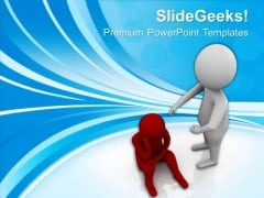3d Man Consoling His Sad Friend PowerPoint Templates Ppt Backgrounds For Slides 0713