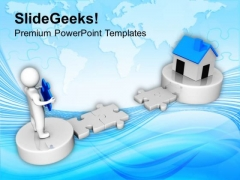3d Man Cross The Path To Real Estate PowerPoint Templates Ppt Backgrounds For Slides 0113