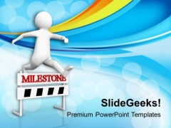 3d Man Crossing The Milestone PowerPoint Templates Ppt Backgrounds For Slides 0813