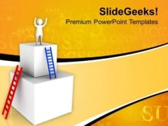3d Man Enjoying His Success PowerPoint Templates Ppt Backgrounds For Slides 0713