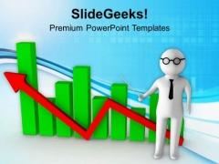 3d Man Explaining Business Graph PowerPoint Templates Ppt Backgrounds For Slides 0713