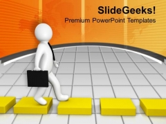 3d Man Going On Yellow Cube Way PowerPoint Templates Ppt Backgrounds For Slides 0213