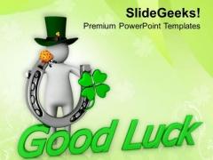 3d Man Good Luck Symbol Celebration PowerPoint Templates Ppt Backgrounds For Slides 0313
