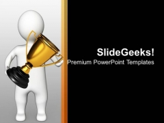 3d Man Holding Golden Trophy PowerPoint Templates Ppt Backgrounds For Slides 0213
