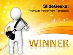 3d Man Holding Silver Trophy Competition PowerPoint Templates And PowerPoint Themes 1012