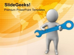 3d Man Holding Wrench PowerPoint Templates Ppt Backgrounds For Slides 0813