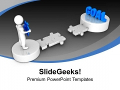3d Man Holds Puzzle To Reach Goal PowerPoint Templates Ppt Backgrounds For Slides 0113