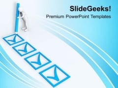 3d Man Making Check Marks PowerPoint Templates Ppt Backgrounds For Slides 0713