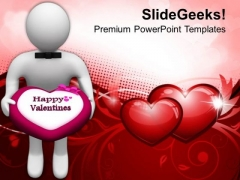 3d Man Offering Chocolate Treat PowerPoint Templates Ppt Backgrounds For Slides 0213