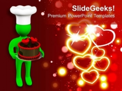3d Man Offering Valentines Cake With Hearts PowerPoint Templates Ppt Backgrounds For Slides 0213