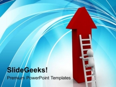 3d Man On Ladder Of Success PowerPoint Templates Ppt Backgrounds For Slides 0813