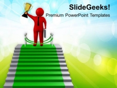 3d Man On Stairs Of Success PowerPoint Templates Ppt Backgrounds For Slides 0813