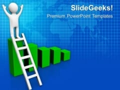 3d Man On Success Graph PowerPoint Templates Ppt Backgrounds For Slides 0813