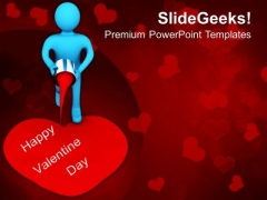 3d Man Painting Valentines Heart PowerPoint Templates Ppt Backgrounds For Slides 0213