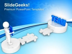 3d Man Path To Team PowerPoint Templates Ppt Backgrounds For Slides 0213