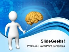 3d Man Pointing Brain PowerPoint Templates Ppt Backgrounds For Slides 0813