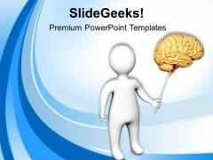3d Man Pointing Towards Brain Medical PowerPoint Templates Ppt Backgrounds For Slides 0813