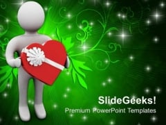 3d Man Presenting Red Heart Valentine Gift PowerPoint Templates Ppt Backgrounds For Slides 0213