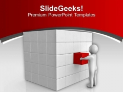 3d Man Pushing Cube In Place Solution PowerPoint Templates Ppt Backgrounds For Slides 0213