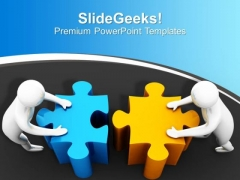 3d Man Pushing Puzzles Joining Team Effort PowerPoint Templates Ppt Backgrounds For Slides 0113