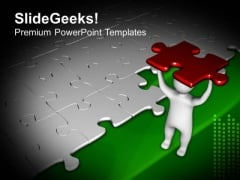 3d Man Puzzle Piece For Solution PowerPoint Templates Ppt Backgrounds For Slides 0513