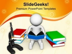 3d Man Reading Science PowerPoint Templates Ppt Backgrounds For Slides 0813