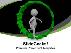3d Man Running In Unidirectional Cycle PowerPoint Templates Ppt Backgrounds For Slides 0613