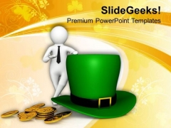 3d Man Standing Beside Hat St Patricks Day PowerPoint Templates Ppt Backgrounds For Slides 0313