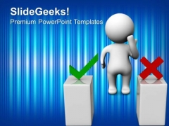 3d Man Thinking Behind Two Podiums People PowerPoint Templates And PowerPoint Themes 0912