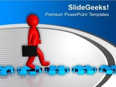 3d Man Walking On Blue Puzzle Road PowerPoint Templates Ppt Backgrounds For Slides 0213