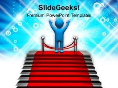 3d Man Winner Concept Competition PowerPoint Templates Ppt Backgrounds For Slides 0113