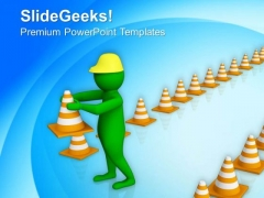 3d Man With A Traffic Cones PowerPoint Templates Ppt Backgrounds For Slides 0813