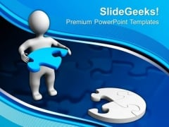 3d Man With Blue Puzzle Jigsaw PowerPoint Templates And PowerPoint Themes 0912