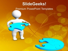 3d Man With Blue Puzzle Jigsaw PowerPoint Templates And PowerPoint Themes 1012