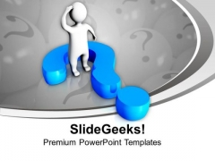 3d Man With Blue Question Mark Confusion PowerPoint Templates Ppt Backgrounds For Slides 1212