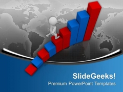 3d Man With Climbing The Success Bar PowerPoint Templates Ppt Backgrounds For Slides 0613