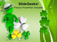 3d Man With Clover Leaf PowerPoint Templates Ppt Backgrounds For Slides 0313