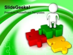 3d Man With Colorful Puzzle Jigsaw PowerPoint Templates And PowerPoint Themes 1012